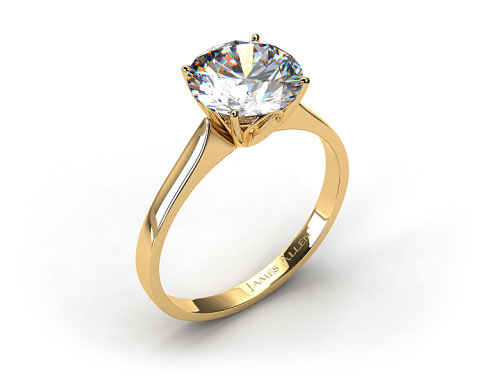 18k Yellow Gold Four Prong Cathedral Arch Engagement Ring